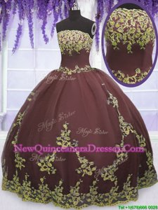 Custom Fit Sleeveless Tulle Floor Length Zipper Quinceanera Dresses inChocolate withLace and Appliques