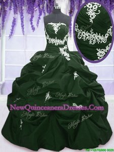 Edgy Floor Length Lace Up Vestidos de Quinceanera Dark Green and Peacock Green and In for Military Ball and Sweet 16 and Quinceanera withAppliques and Pick Ups
