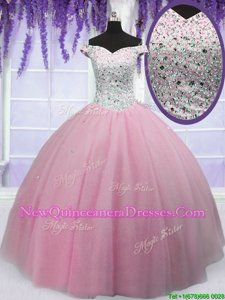 Adorable Off the Shoulder Baby Pink Short Sleeves Tulle Lace Up Sweet 16 Quinceanera Dress for Military Ball and Quinceanera