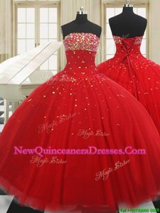 bb5cc5edf61  397.22  227.85  Cute Red Tulle Lace Up Vestidos de Quinceanera Sleeveless  Floor Length Beading
