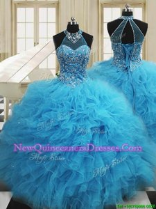 Spectacular Scoop Sleeveless Lace Up Quinceanera Dress Baby Blue Tulle