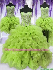 High Class Four Piece Yellow Green Sleeveless Floor Length Beading and Ruffles Lace Up 15th Birthday Dress