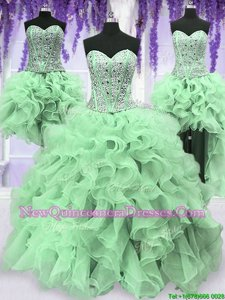 Four Piece Apple Green Sweetheart Lace Up Beading and Ruffles Ball Gown Prom Dress Sleeveless
