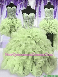 Designer Four Piece Organza Sweetheart Sleeveless Lace Up Ruffles and Sequins Ball Gown Prom Dress inYellow Green