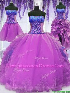 Edgy Four Piece Floor Length Purple Quinceanera Gowns Organza Sleeveless Spring and Summer and Fall and Winter Embroidery and Ruffles