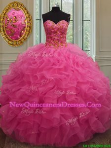 Hot Pink Lace Up Sweetheart Beading and Ruffles 15 Quinceanera Dress Organza Sleeveless
