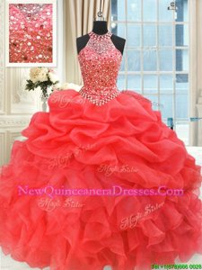 Fine Coral Red Sleeveless Beading and Pick Ups Floor Length Quince Ball Gowns