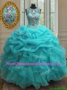 Trendy Scoop Sleeveless Lace Up Sweet 16 Dresses Baby Blue Organza