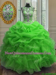 Cheap Scoop Sleeveless Organza Sweet 16 Quinceanera Dress Beading and Ruffles and Pick Ups Lace Up