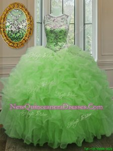 Gorgeous Scoop Sleeveless Organza Sweet 16 Dresses Beading and Ruffles Lace Up