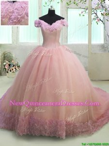 Customized Pink Ball Gowns Organza Off The Shoulder Short Sleeves Hand Made Flower With Train Lace Up Vestidos de Quinceanera Court Train