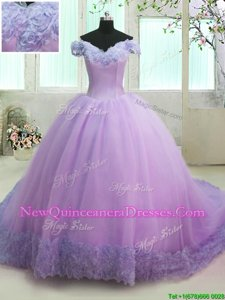 Eye-catching Lilac Off The Shoulder Lace Up Hand Made Flower Quinceanera Gowns Court Train Short Sleeves