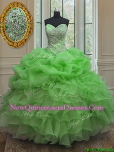 Modest Pick Ups Floor Length Ball Gowns Sleeveless Spring Green Quinceanera Gown Lace Up