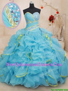 Best Baby Blue Lace Up Sweetheart Beading and Ruffles Quinceanera Dress Organza Sleeveless Brush Train