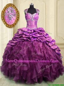 Free and Easy Lilac Quinceanera Dresses Military Ball and Sweet 16 and Quinceanera and For withBeading and Ruffles and Ruffled Layers and Pick Ups Sweetheart Cap Sleeves Brush Train Lace Up