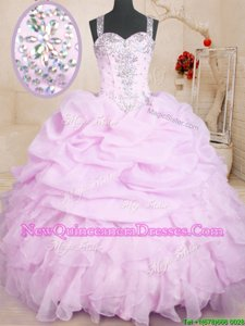 Lilac Organza Lace Up Vestidos de Quinceanera Sleeveless Floor Length Beading and Ruffles and Pick Ups