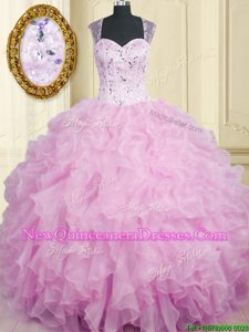 Best Lilac Ball Gowns Beading and Ruffles Sweet 16 Dresses Zipper Organza Sleeveless Floor Length