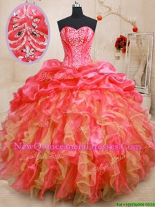 Lovely Beading and Ruffles Sweet 16 Quinceanera Dress Red Lace Up Sleeveless Floor Length