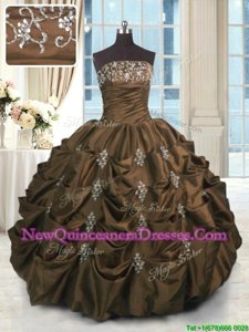 Comfortable Chocolate Taffeta Lace Up Quinceanera Dress Sleeveless Floor Length Beading and Appliques and Embroidery and Pick Ups