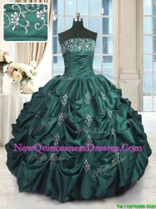 Superior Peacock Green Lace Up Vestidos de Quinceanera Beading and Appliques and Embroidery and Pick Ups Sleeveless Floor Length