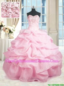 Super Sleeveless Beading and Ruffles Lace Up Sweet 16 Dresses