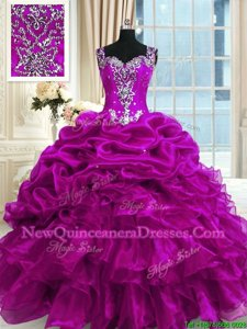 Pretty Fuchsia Ball Gowns Organza Straps Sleeveless Beading and Ruffles and Pick Ups Floor Length Lace Up Quince Ball Gowns