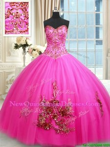 Modern Hot Pink Sweetheart Lace Up Beading and Appliques and Embroidery Vestidos de Quinceanera Sleeveless
