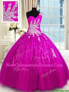 One Shoulder Fuchsia Lace Up Quinceanera Dress Appliques Sleeveless Floor Length