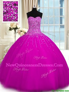 Ideal Fuchsia Ball Gowns Tulle Sweetheart Sleeveless Beading Floor Length Lace Up Sweet 16 Dresses