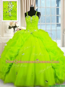 Customized Yellow Green Sleeveless Beading and Pick Ups Floor Length Quinceanera Gown