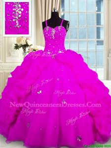 Perfect Sleeveless Beading and Pick Ups Lace Up Quinceanera Gowns