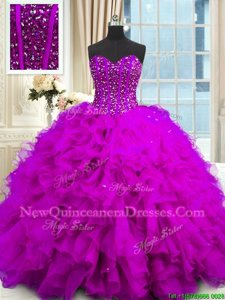 Flirting Sleeveless Organza Floor Length Lace Up Vestidos de Quinceanera inPurple withBeading and Ruffles and Sequins
