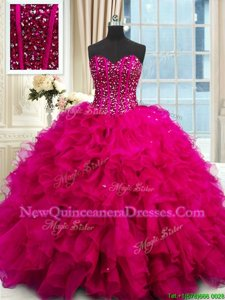 Fancy Fuchsia Ball Gowns Organza Sweetheart Sleeveless Beading and Ruffles and Sequins Floor Length Lace Up 15th Birthday Dress