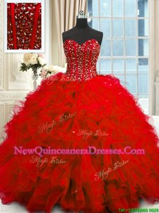 Sweetheart Sleeveless Organza Sweet 16 Dress Beading and Ruffles and Sequins Lace Up