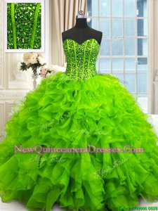Dynamic Spring Green Lace Up Ball Gown Prom Dress Beading and Ruffles and Sequins Sleeveless Floor Length