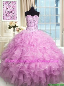 Comfortable Sleeveless Lace Up Floor Length Beading and Ruffles and Sequins Quinceanera Gown