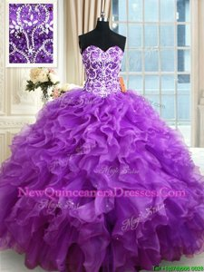 Admirable Purple Lace Up Quinceanera Gowns Beading and Ruffles Sleeveless Floor Length