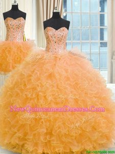 Shining Three Piece Floor Length Lace Up 15 Quinceanera Dress Orange and In for Military Ball and Sweet 16 and Quinceanera withBeading and Ruffles