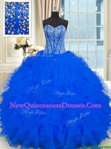 Beauteous Royal Blue Organza Lace Up Strapless Sleeveless Floor Length Quince Ball Gowns Beading and Ruffles