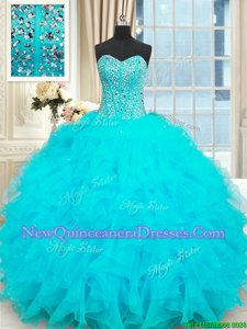 Flare Baby Blue Organza Lace Up Sweet 16 Quinceanera Dress Sleeveless Floor Length Beading and Ruffles