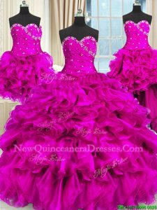 Dramatic Four Piece Sleeveless Beading and Ruffles and Ruching Lace Up 15 Quinceanera Dress