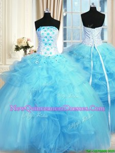 Shining Baby Blue Lace Up Ball Gown Prom Dress Pick Ups and Hand Made Flower Sleeveless Floor Length