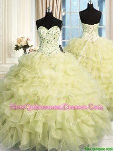 Flare Sleeveless Floor Length Beading and Ruffles Lace Up Ball Gown Prom Dress with Yellow