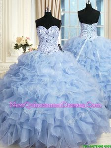 Modest Floor Length Ball Gowns Sleeveless Light Blue Quinceanera Gown Lace Up