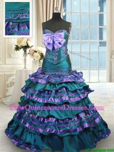 Cheap Mermaid Taffeta Sweetheart Sleeveless Sweep Train Lace Up Appliques and Ruffled Layers and Bowknot Vestidos de Quinceanera inPeacock Green