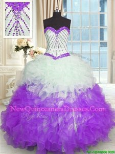 Spring and Summer and Fall and Winter Organza Sleeveless Floor Length Quinceanera Dresses andBeading and Ruffles