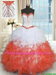 High Class Spring and Summer and Fall and Winter Organza Sleeveless Floor Length Quinceanera Gowns andBeading and Ruffles