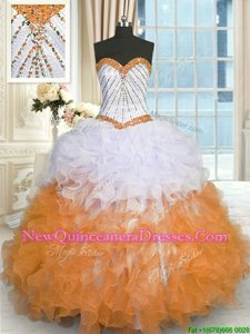Eye-catching Multi-color Organza Lace Up Sweetheart Sleeveless Floor Length Quinceanera Gown Beading and Ruffles