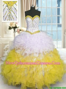 Exquisite Ball Gowns Quinceanera Gown Yellow And White Sweetheart Organza Sleeveless Floor Length Lace Up