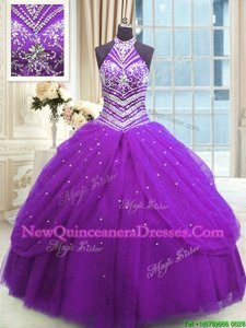 Customized Purple Sleeveless Tulle Lace Up Quinceanera Gown for Military Ball and Sweet 16 and Quinceanera